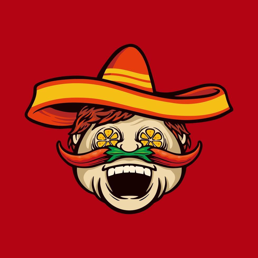 kock med sombrero och chili mustasch maskot vektor