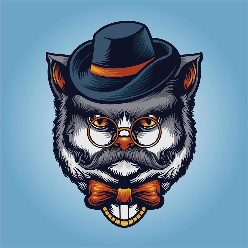 grauer Katzenherr mit Brille, Hut und Schnurrbart vektor