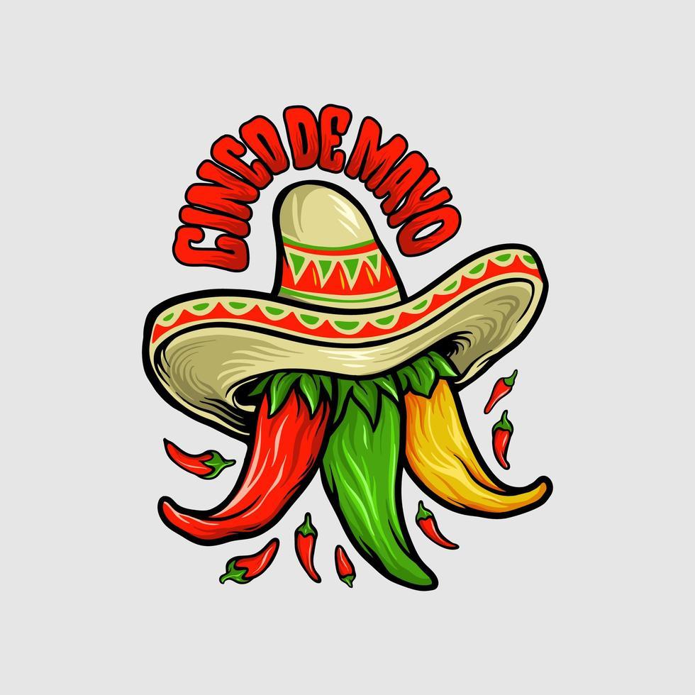 cinco de mayo mexikanisches Chili-Maskottchen vektor