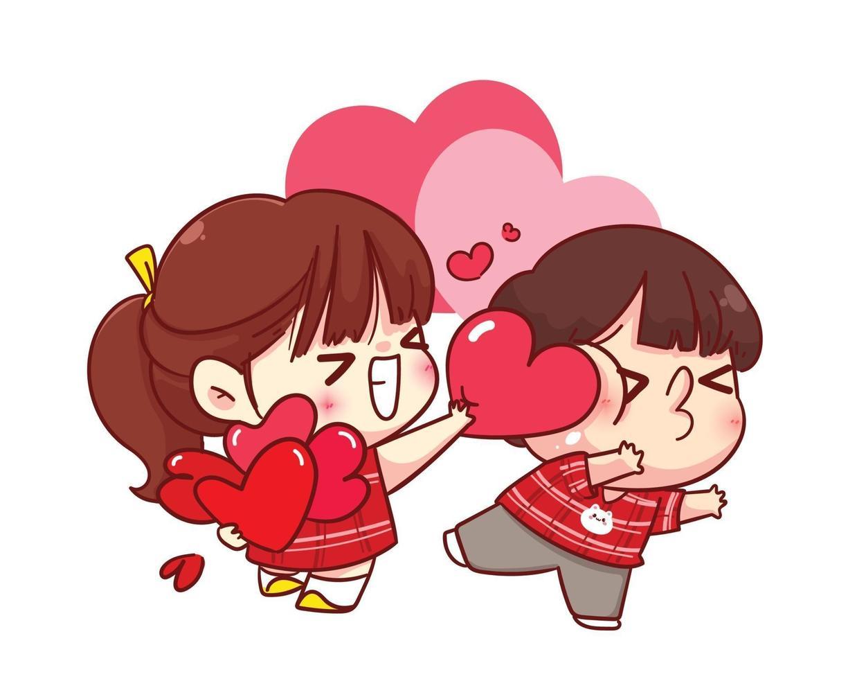 söt tjej ger sitt hjärta till sin pojkvän glad valentine tecknad karaktär illustration vektor