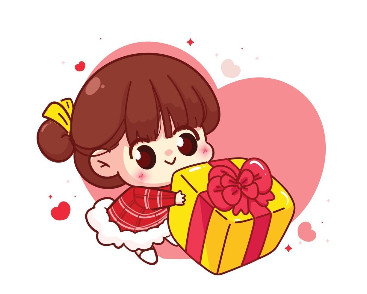 süßes Mädchen, das Geschenkbox glückliche Valentinstagkarikaturcharakterillustration gibt vektor