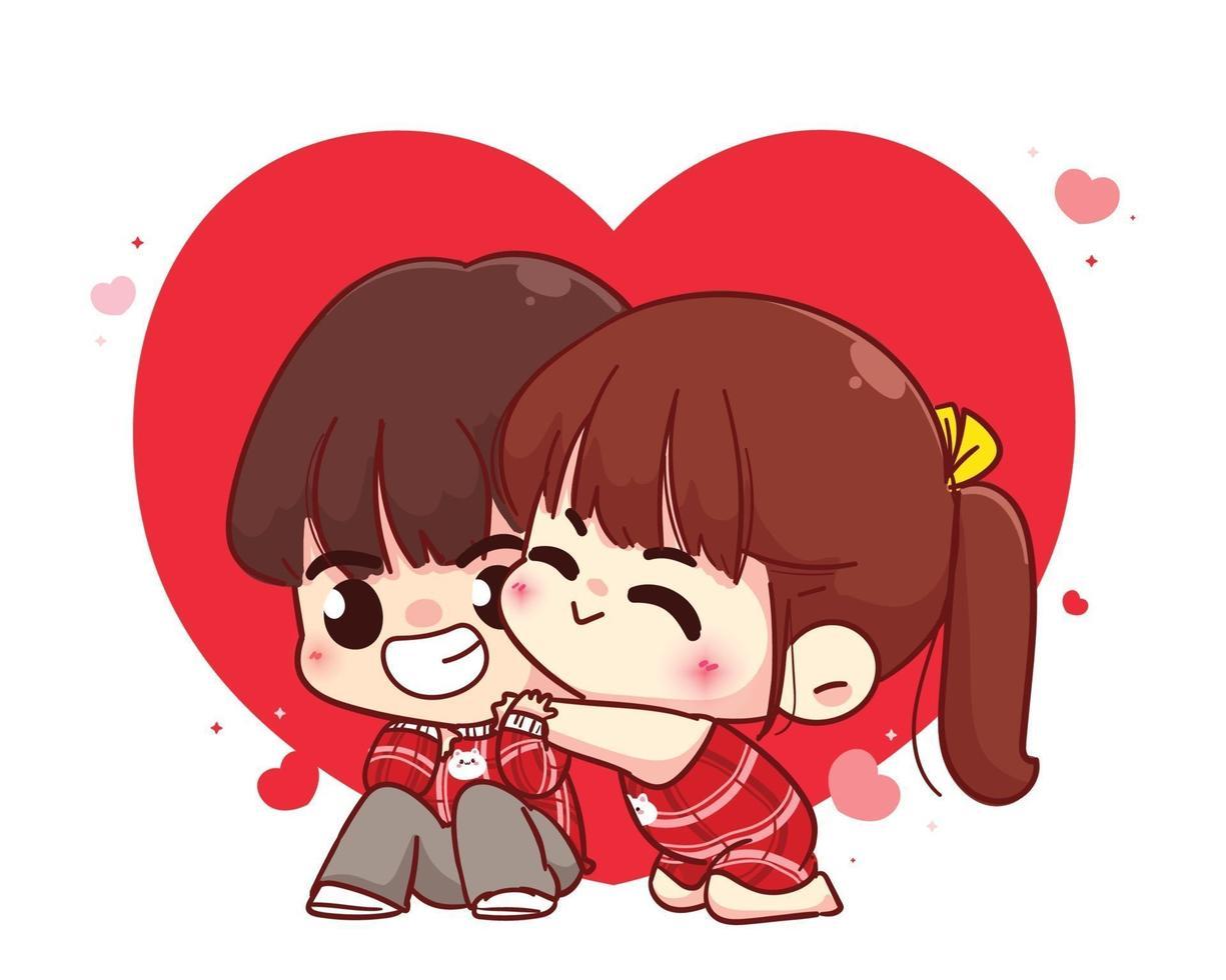 älskare par kramar glad valentine tecknad karaktär illustration vektor