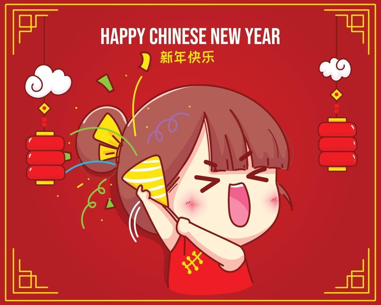 söt tjej håller poppers med konfetti kinesiska nyåret firande tecknad karaktär illustration vektor