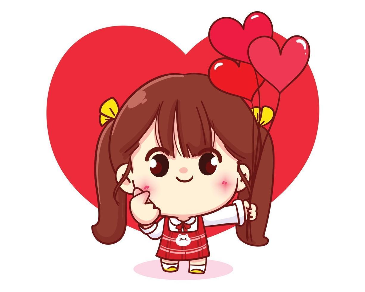 süßes Mädchen, das ein Herz mit ihren Händen glückliche Valentinstagkarikaturcharakterillustration macht vektor