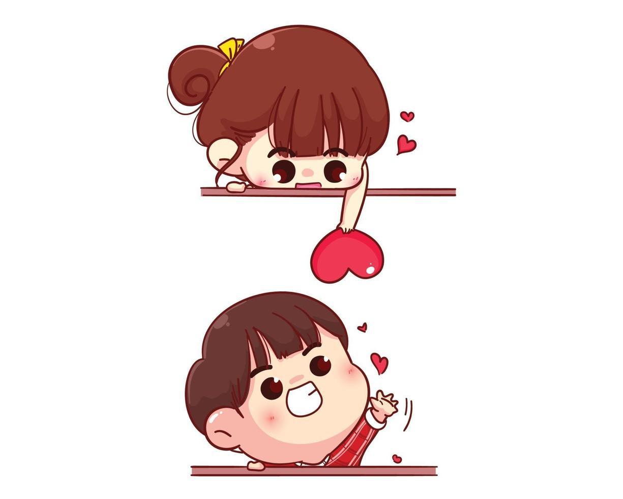 Liebespaar, das Herz glückliche Valentinstagkarikaturcharakterillustration sendet vektor