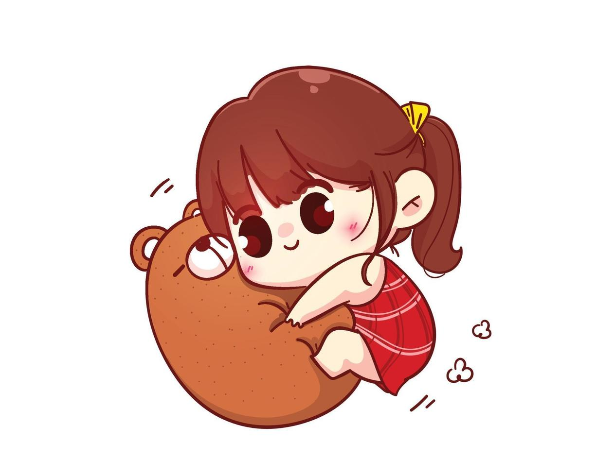 niedliches Mädchen umarmt Teddybär glückliche Valentinstagkarikaturcharakterillustration vektor