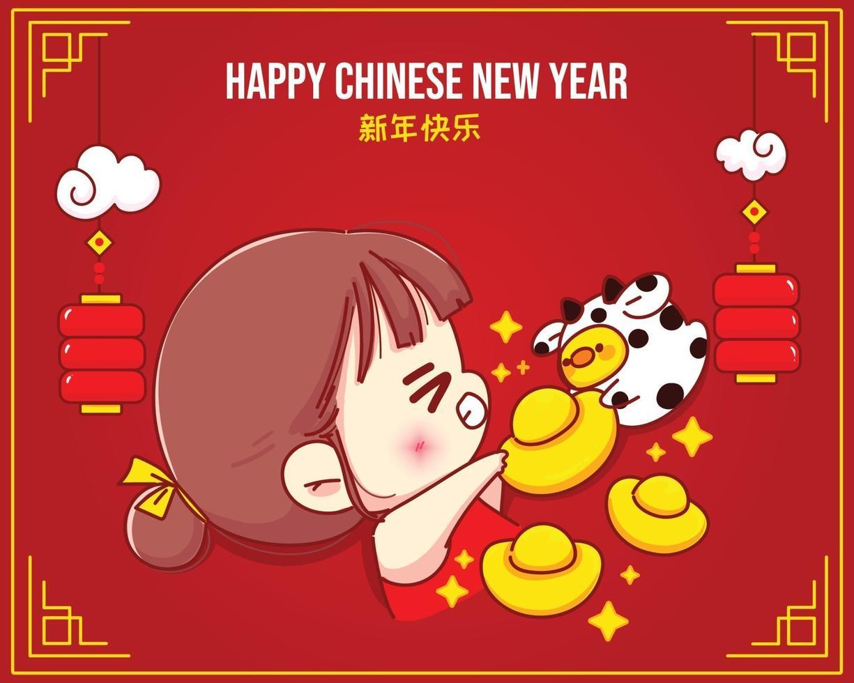 glad tjej och söt ko som håller kinesiskt guld, lyckligt kinesiskt nyårsfirande tecknad karaktärsillustration vektor