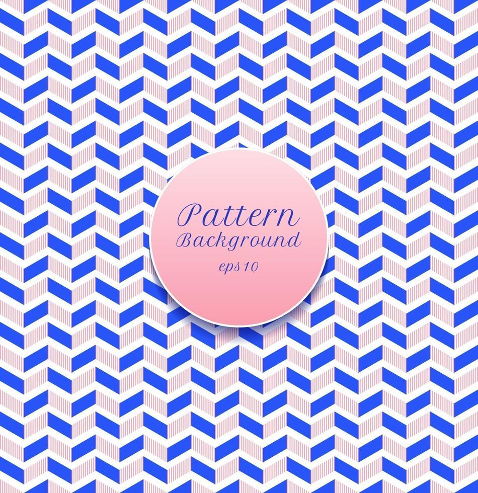 abstrakta sömlösa mönster rand chevron blå och rosa på vit bakgrund. vektor
