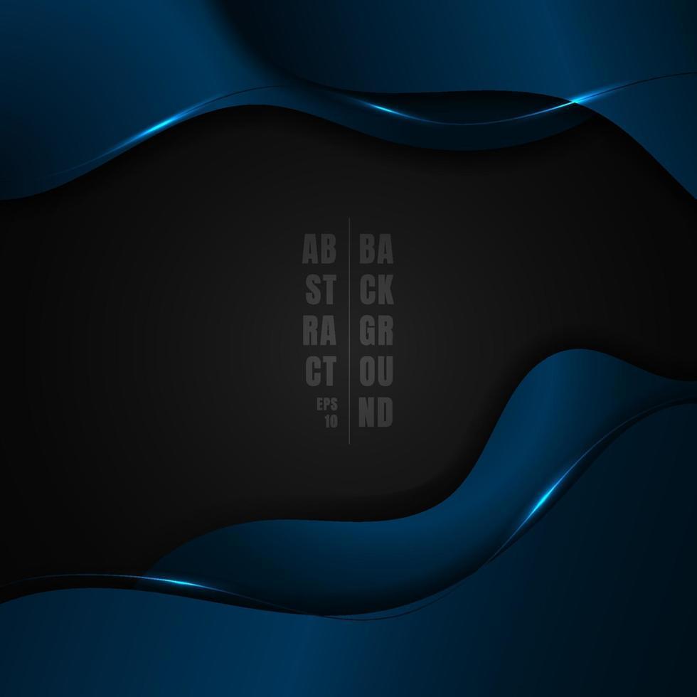 abstrakt blå metallisk vågform med ljuseffekt på svart bakgrundsutrymme för din text. vektor