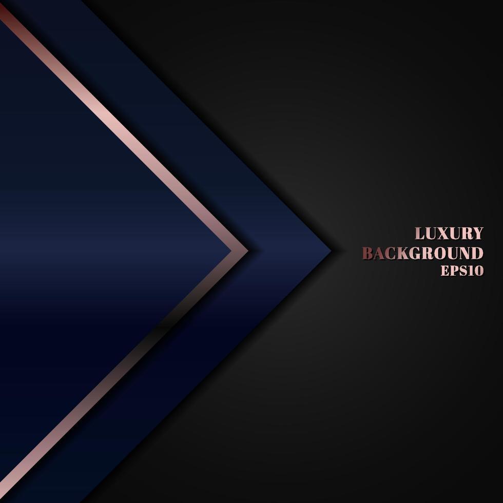blaues geometrisches Dreieck des abstrakten modernen Luxusschablonendesigns mit Rotgoldlinie auf schwarzem Hintergrund. vektor