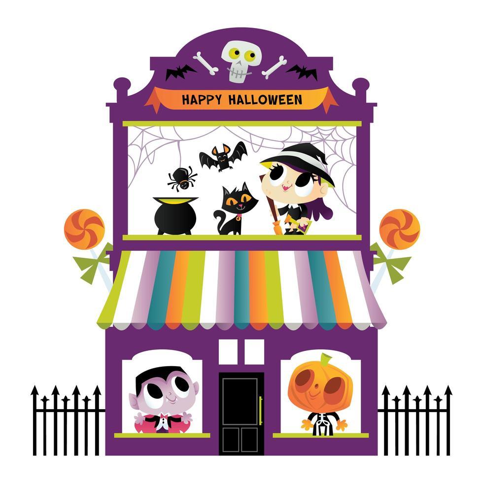 super süßes Halloween Monster Terrassenhaus vektor