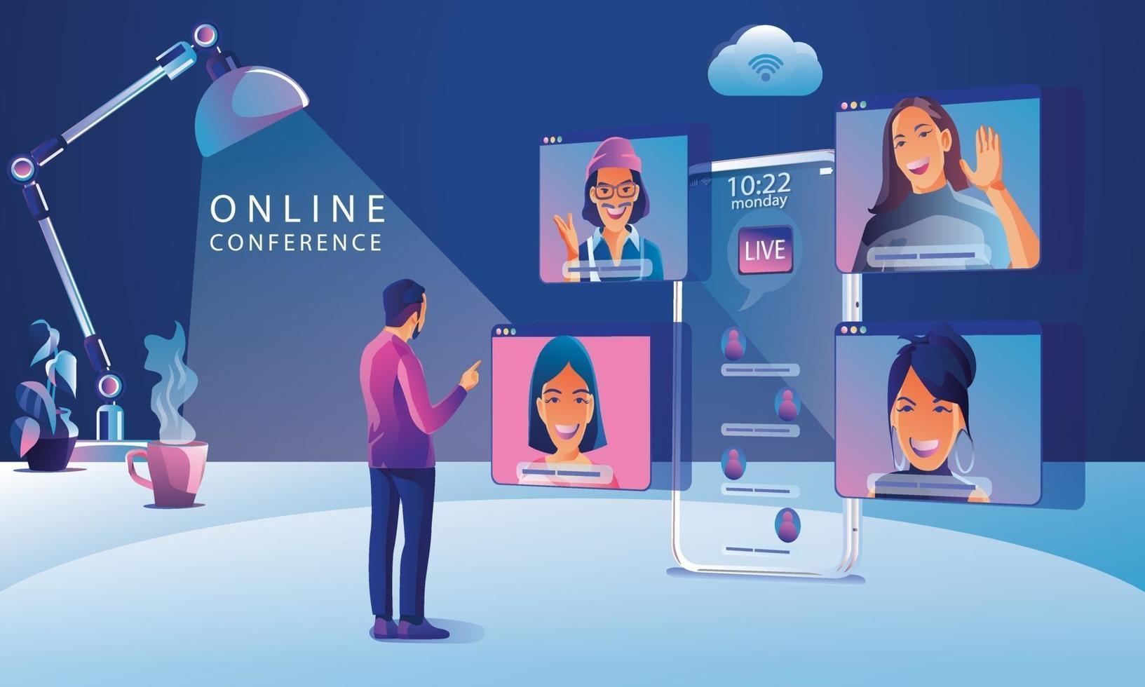 arbetande människor på fönsterskärmen som pratar med kollegor. videokonferens och online-mötesarbetsytasida, man och kvinna som lär sig vektorillustration, platt vektor
