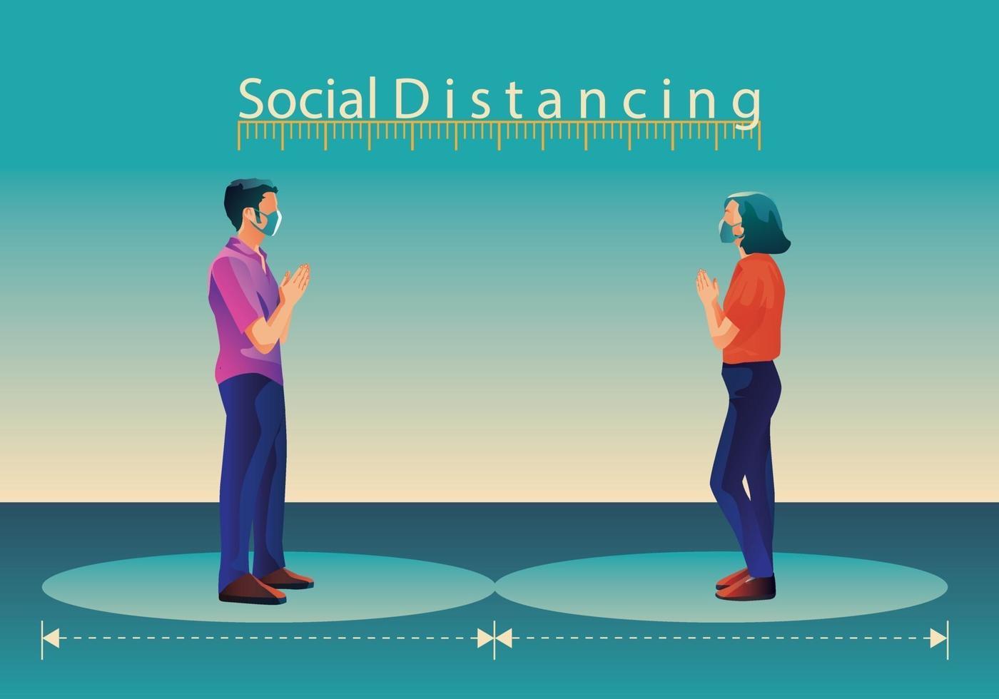 Soziale Distanzierung, Menschen halten Abstand und vermeiden körperlichen Kontakt, Händedruck oder Handberührung, um sich vor dem Konzept der Verbreitung von Covid-19-Coronaviren zu schützen vektor