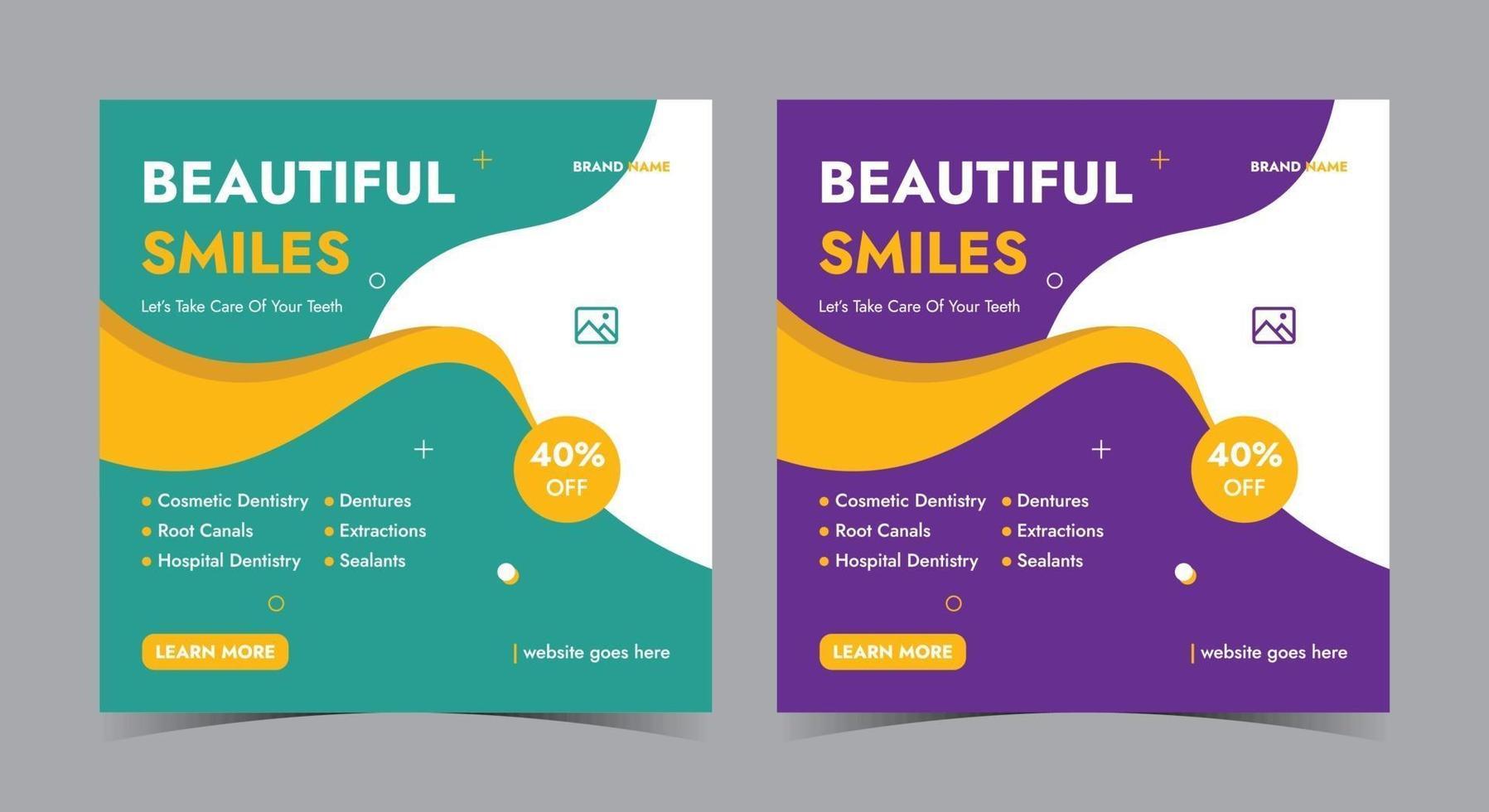 vackert leende affisch, tandvård sociala medier inlägg och flygblad vektor