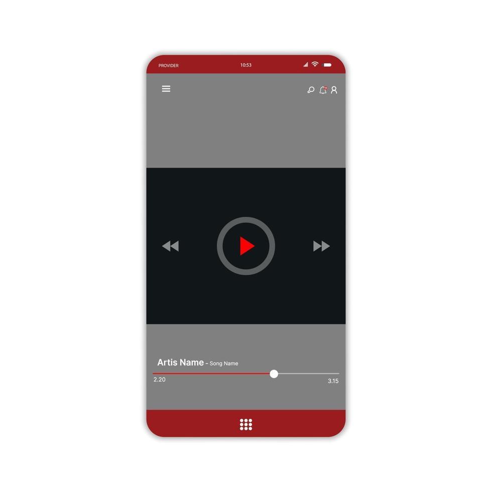 Social Media Netzwerk. Video-Player-Oberfläche. Profil, Album, Lied, Playlist-Modell. Video-Layout-Bildschirm. Vektorillustration vektor