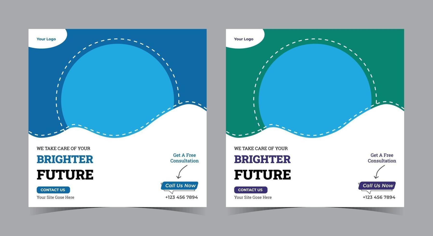 ljusare framtid affisch tandvård sociala medier post och flygblad vektor