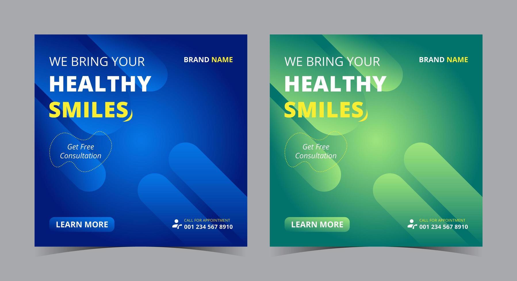 hälsosamt leende affisch, tandvård sociala medier inlägg och flygblad vektor