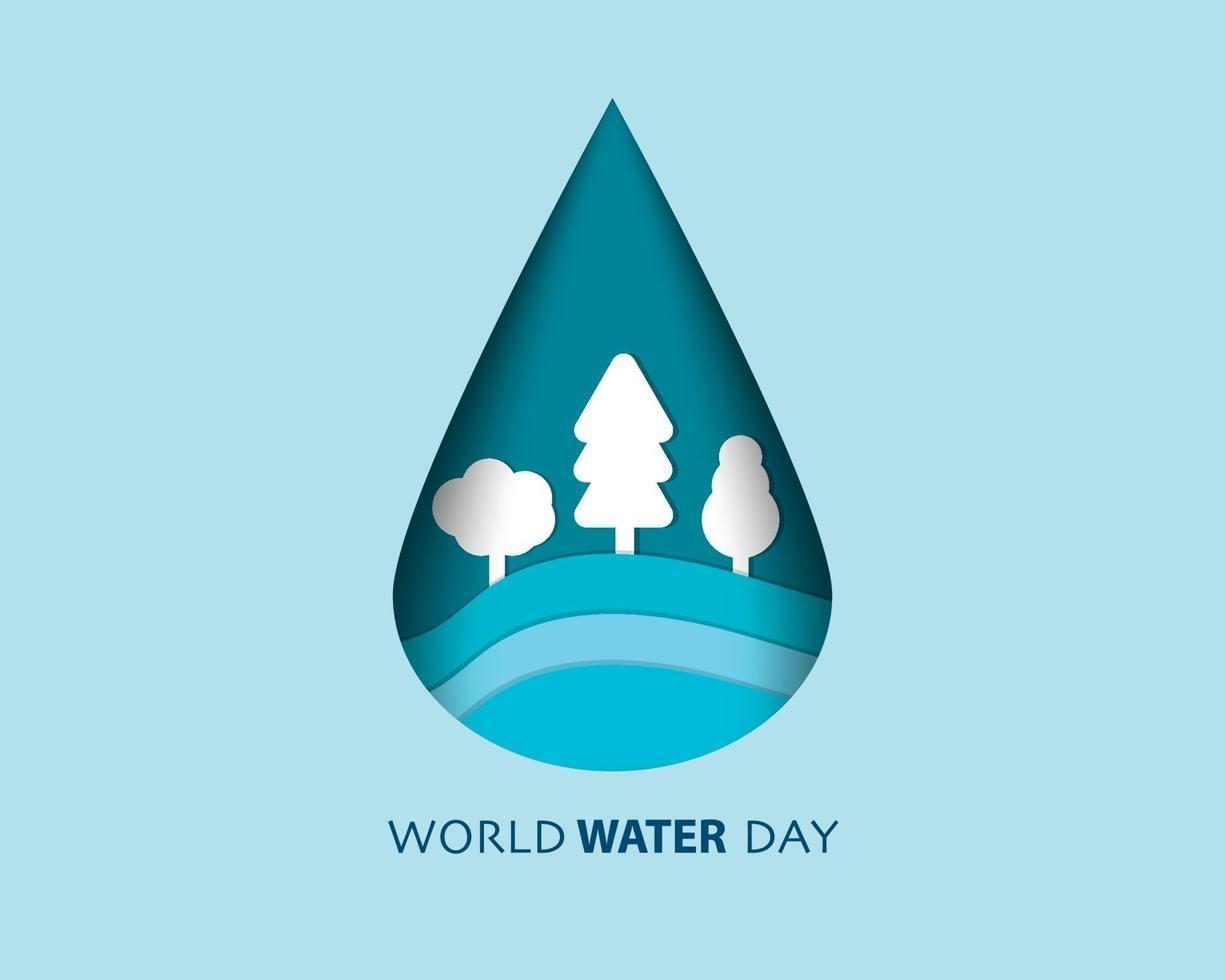 världen vatten dag papper stil vektor