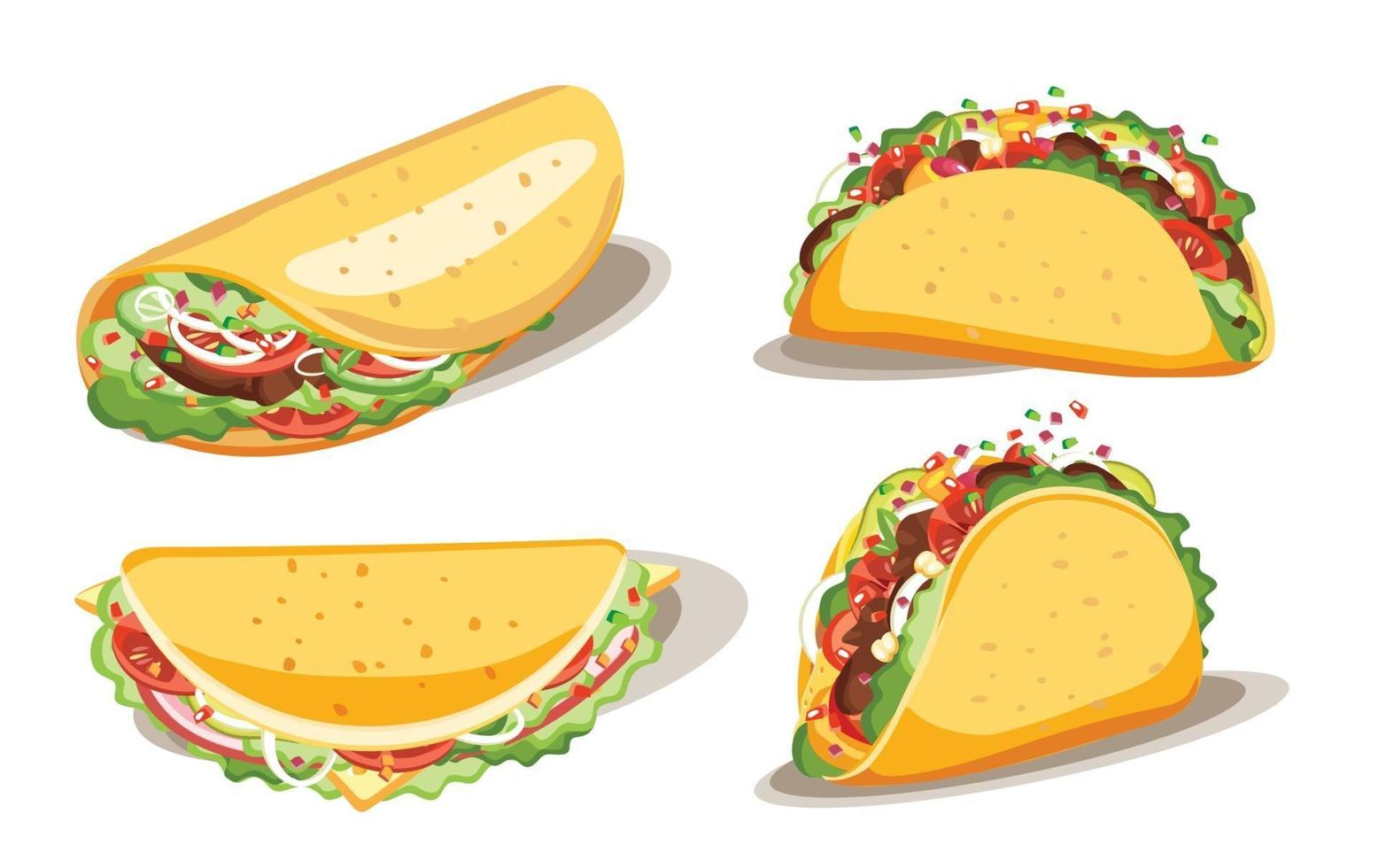 Taco und Burrito, Fast Food mit Soße, mexikanisches traditionelles Essen, isolierte Vektorillustration vektor