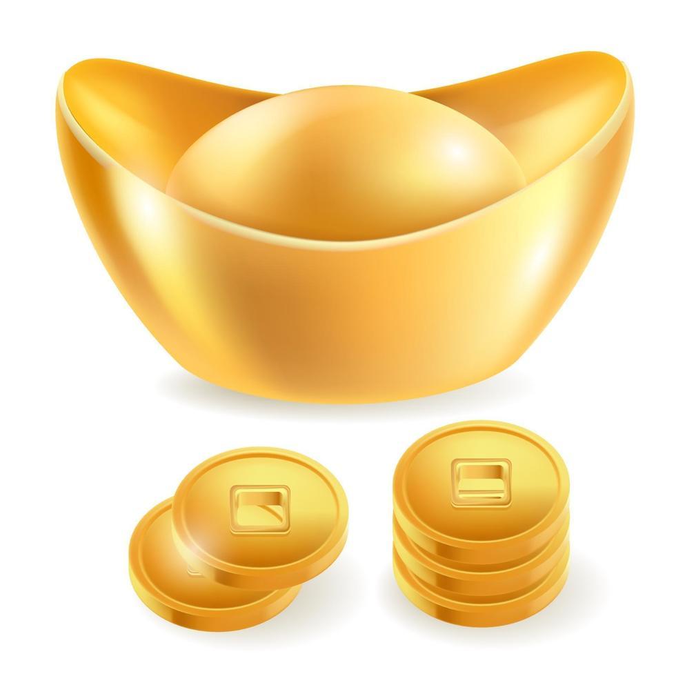 kinesiska guldtack isolerade element. vektor illustrationer.