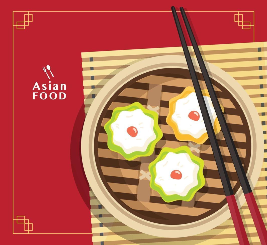 dim sum illustration vektor av kinesisk mat, asiatisk mat dim sum i ångare