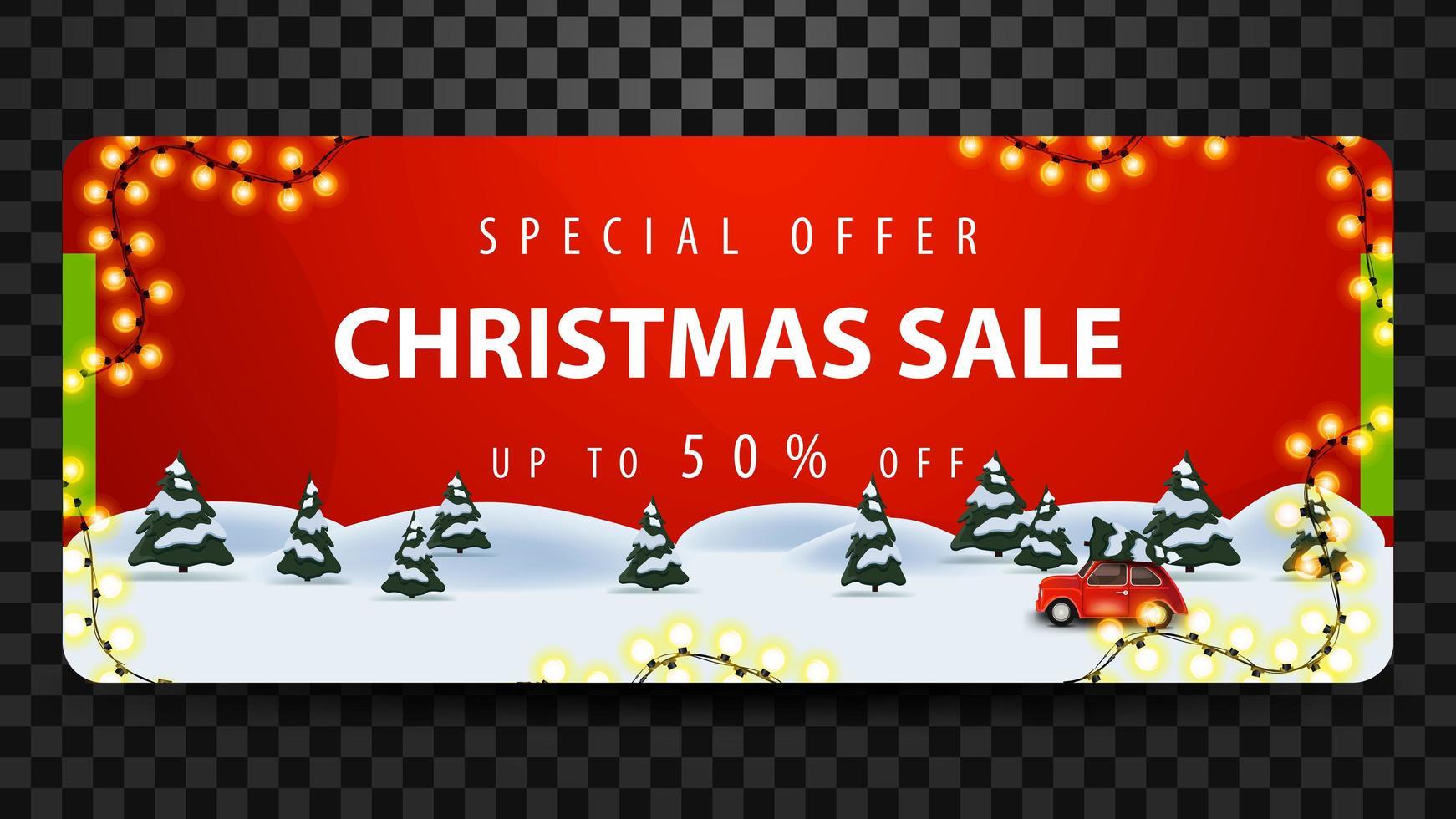Sonderangebot, Weihnachtsverkauf, bis zu 50 Rabatt, schönes rotes Rabatt-Banner mit Kiefernwinterwald und rotem Oldtimer mit Weihnachtsbaum. vektor