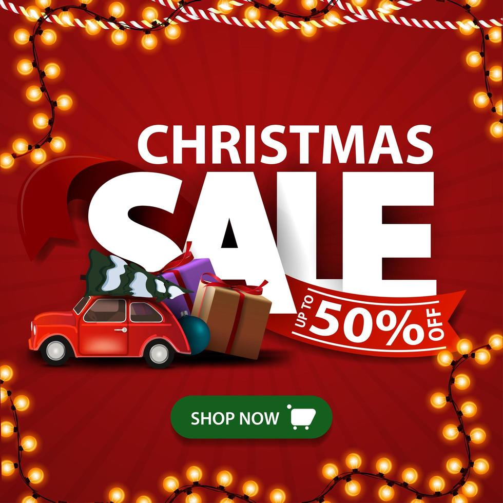 Weihnachtsverkauf, rotes Rabattbanner mit großen Buchstaben mit rotem Band mit Angebot grünem Knopf und rotem Oldtimer mit Weihnachtsbaum vektor