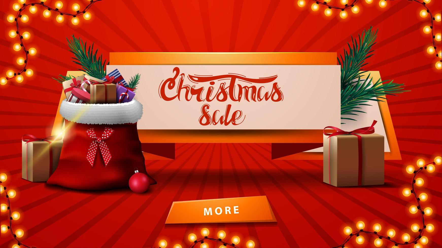 Weihnachtsverkäufe, Rabatt-Banner in Form eines Bandes mit Weihnachtsmann-Tasche mit Geschenken, Weihnachtsbaumzweig und Knopf vektor