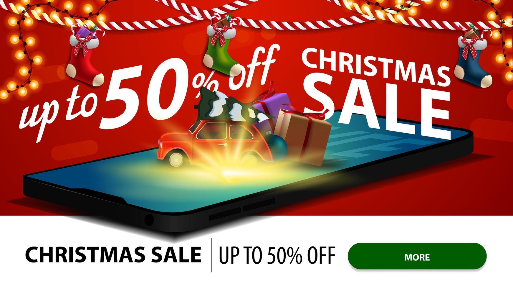 julförsäljning, upp till 50 rabatter, modern rabattbanner för webbplats med smartphone. röd vintage bil med julgran projiceras från skärmen vektor