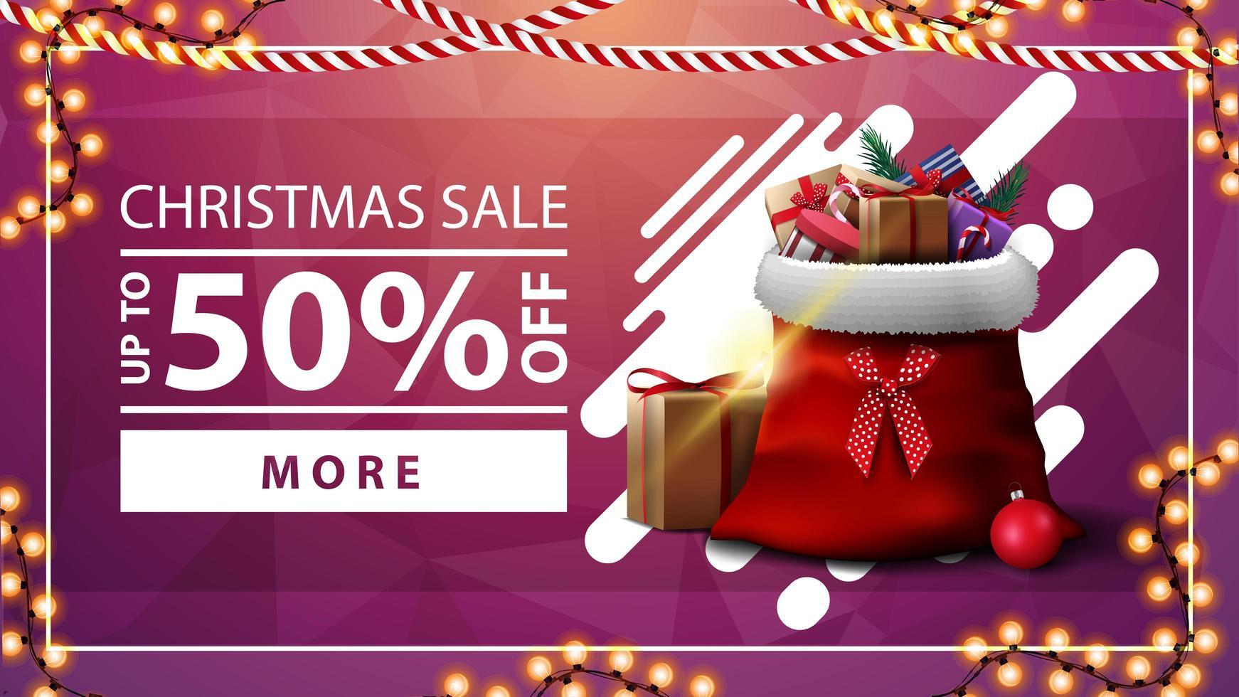 julförsäljning, upp till 50 rabatt, rosa rabattbanner med krans, knapp och jultomtepåse med presenter vektor