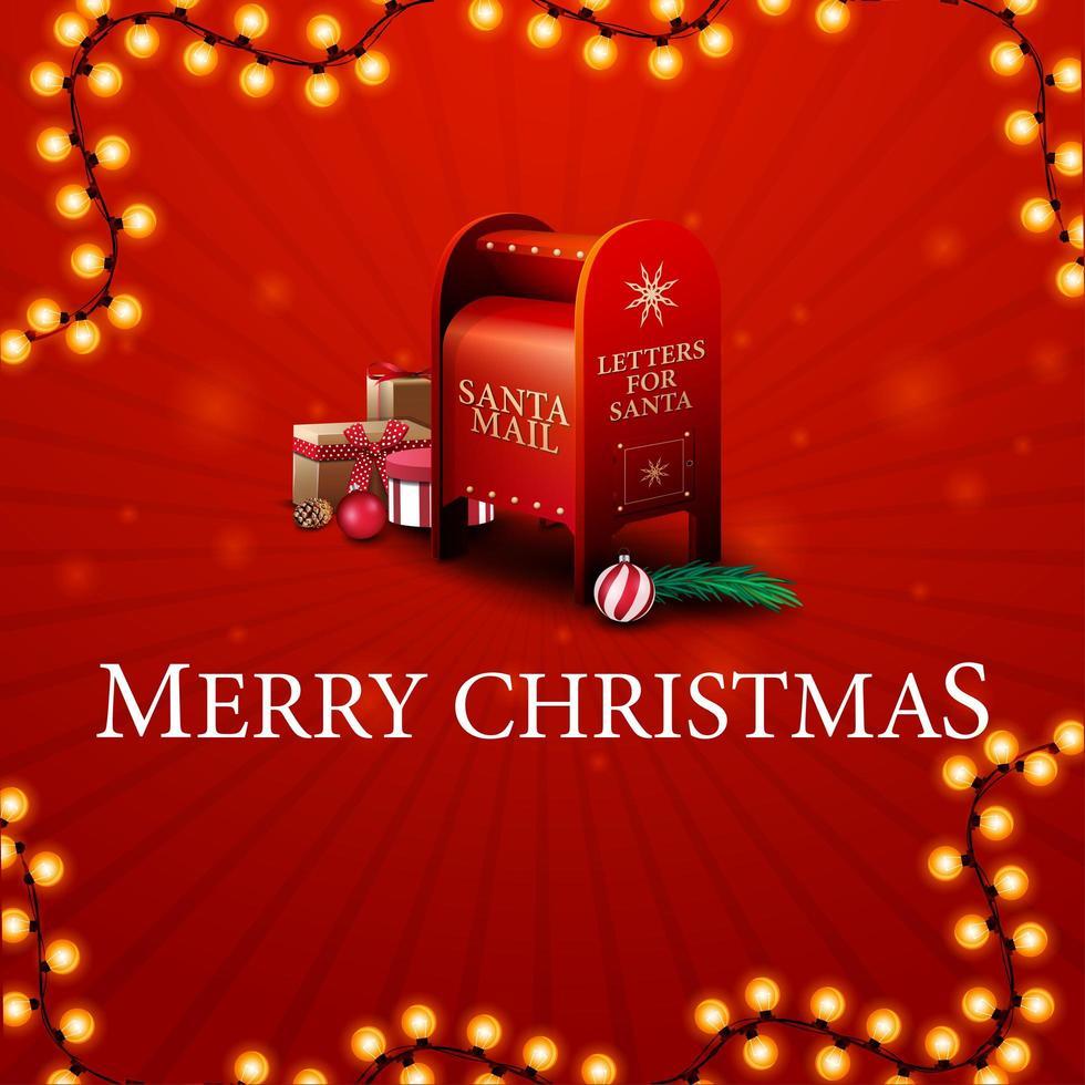 god jul, rött gratulationskort med santa brevlåda med presenter vektor