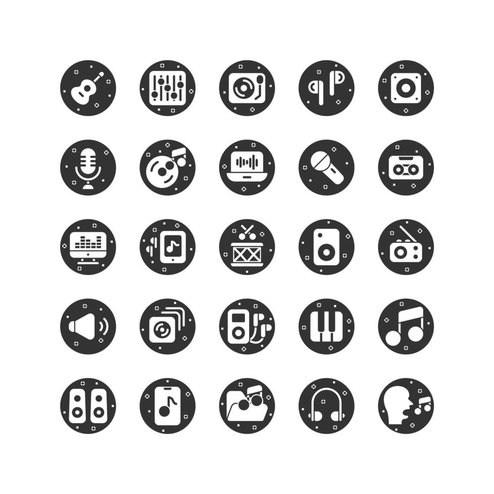 Musik und Sound solide Icon Set. Vektor und Illustration.