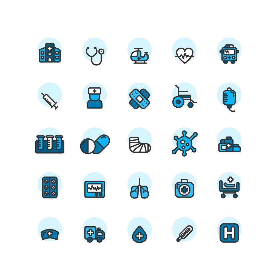 Krankenhaus gefüllt Umriss Icon Set. Vektor und Illustration.