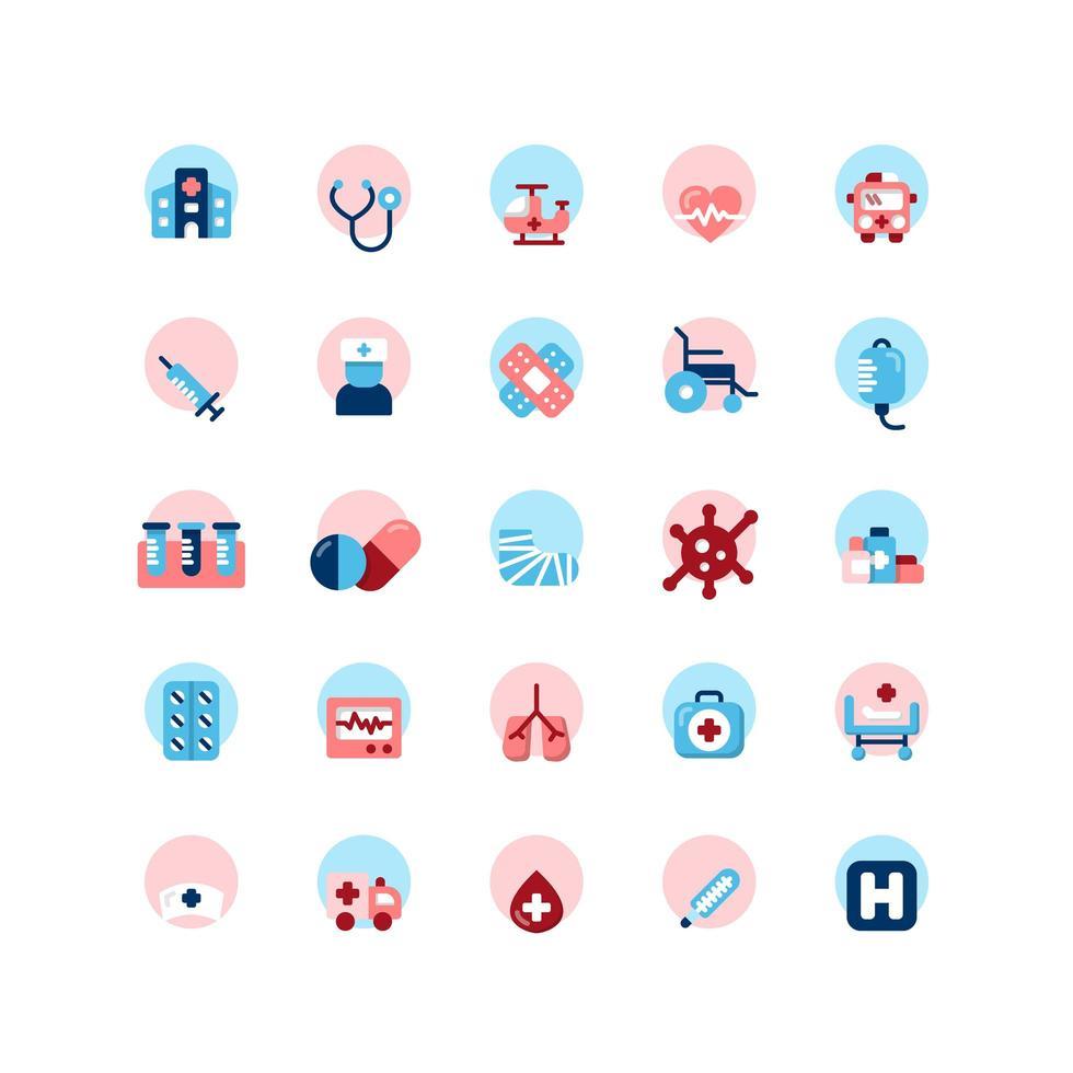 Krankenhaus Wohnung Icon Set. Vektor und Illustration.