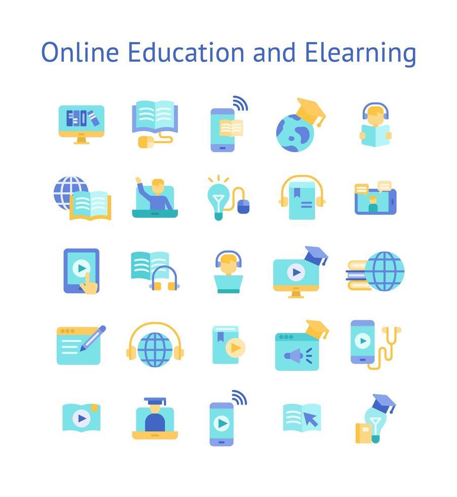 Online-Bildung und E-Learning Flat Icon Set. vektor