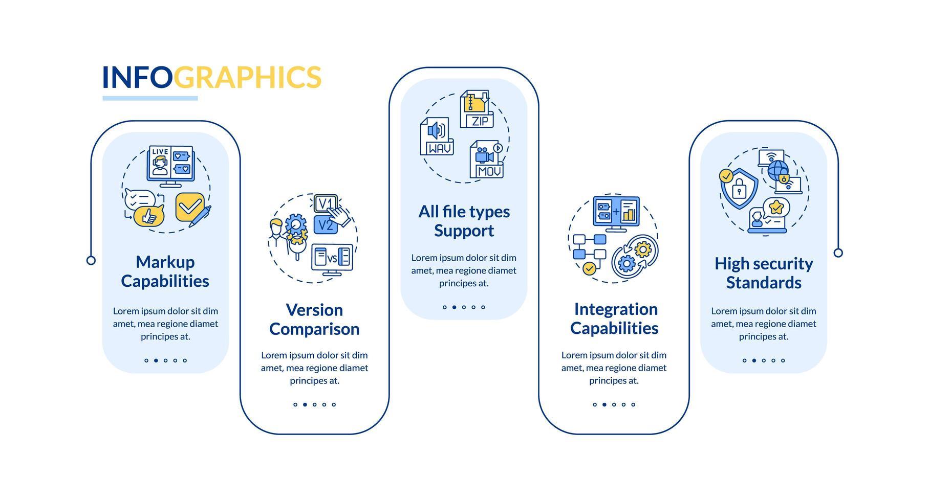 Online-Proofing-Tool Aspekte Vektor-Infografik-Vorlage vektor