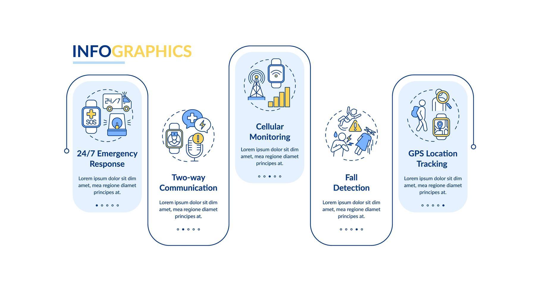 Gesundheitsüberwachung Smartwatch Vektor Infografik Vorlage