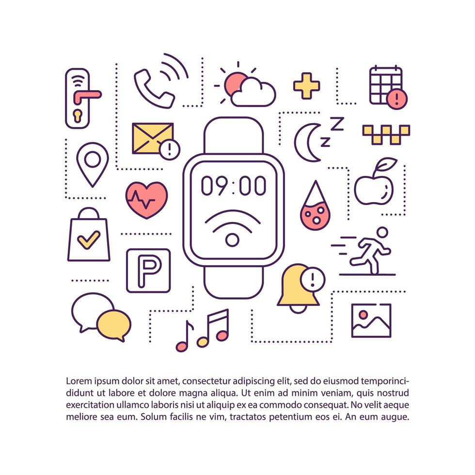 Smartwatch Apps Konzept Symbol mit Text vektor