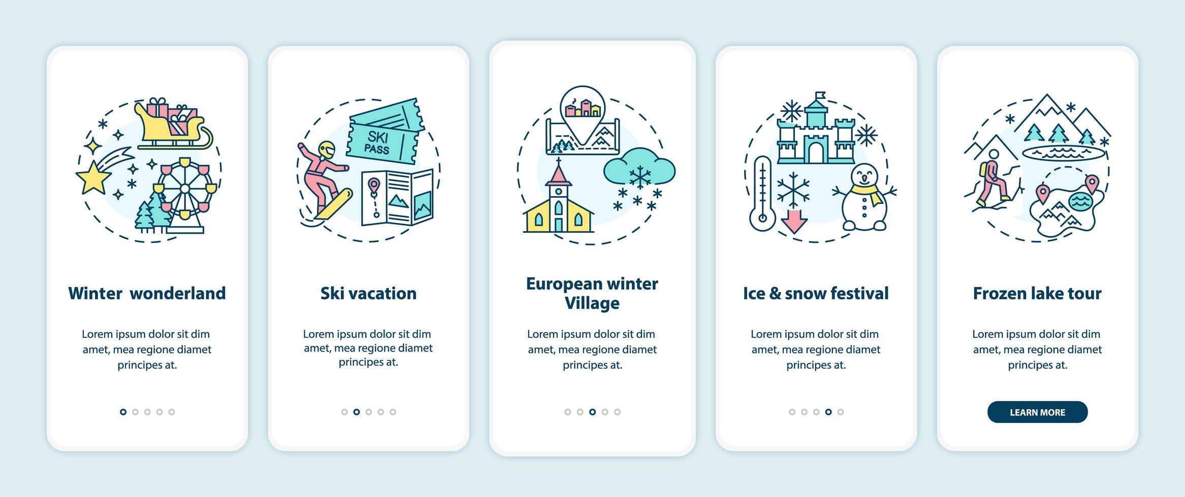 Winterurlaub Orte Onboarding Mobile App Seite Bildschirm mit Konzepten vektor