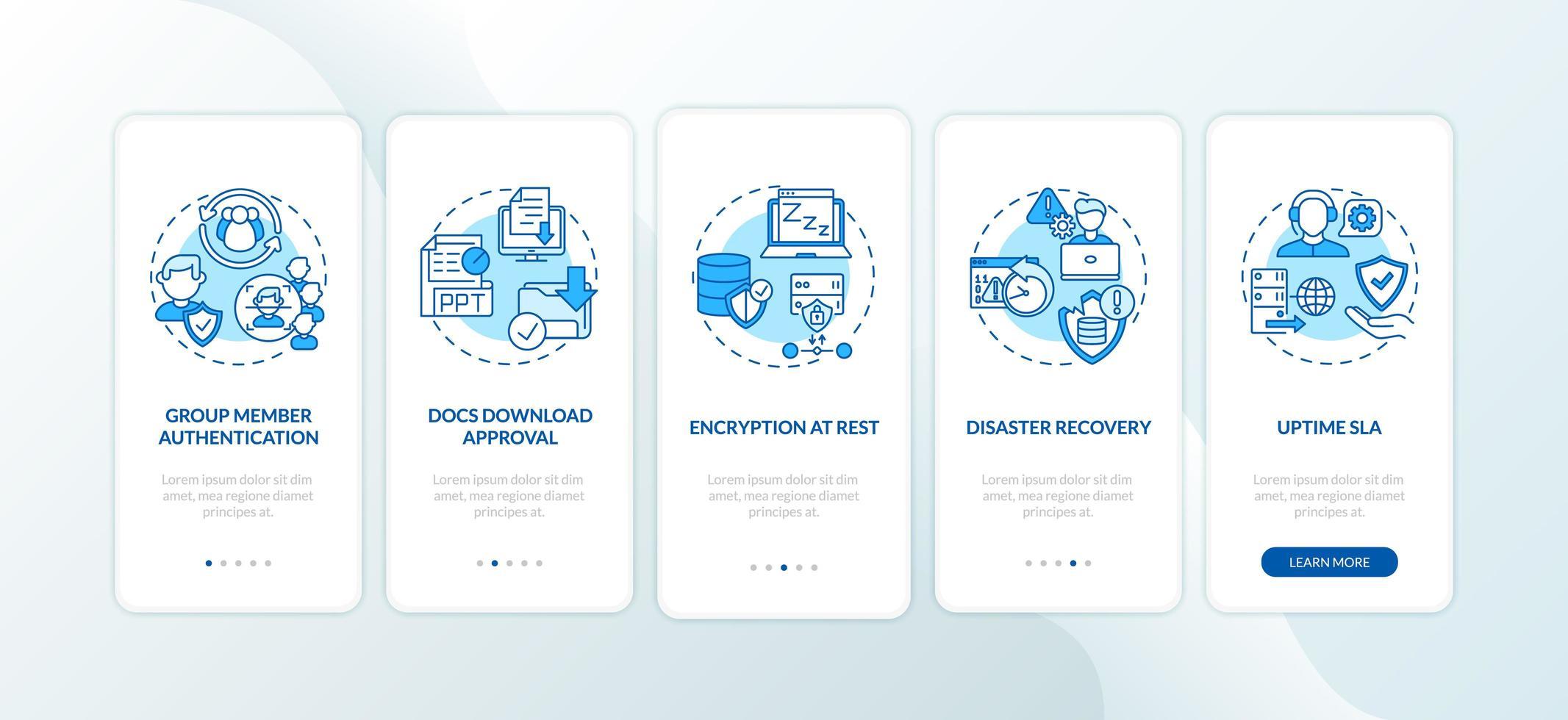 Sicherheitsparameter des Remote-Job-Tools Onboarding des Bildschirms der mobilen App-Seite mit Konzepten vektor