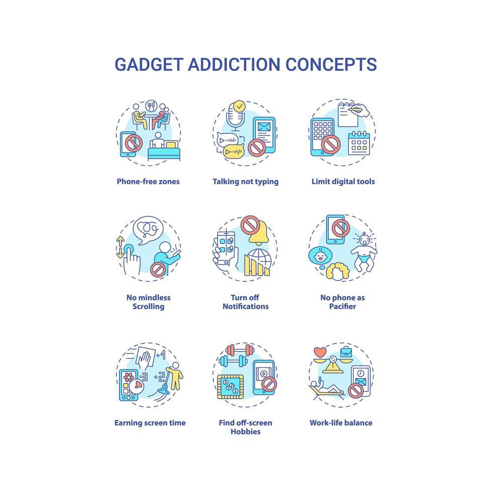 Gadget-Zusatzkonzept-Symbole festgelegt vektor