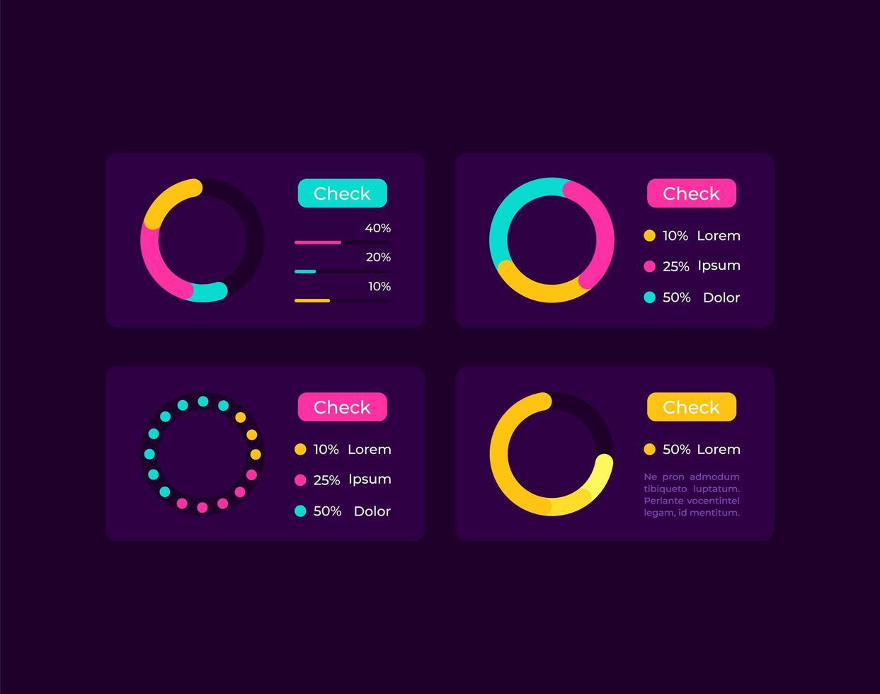 Kreisdiagramme UI-Elemente Kit vektor