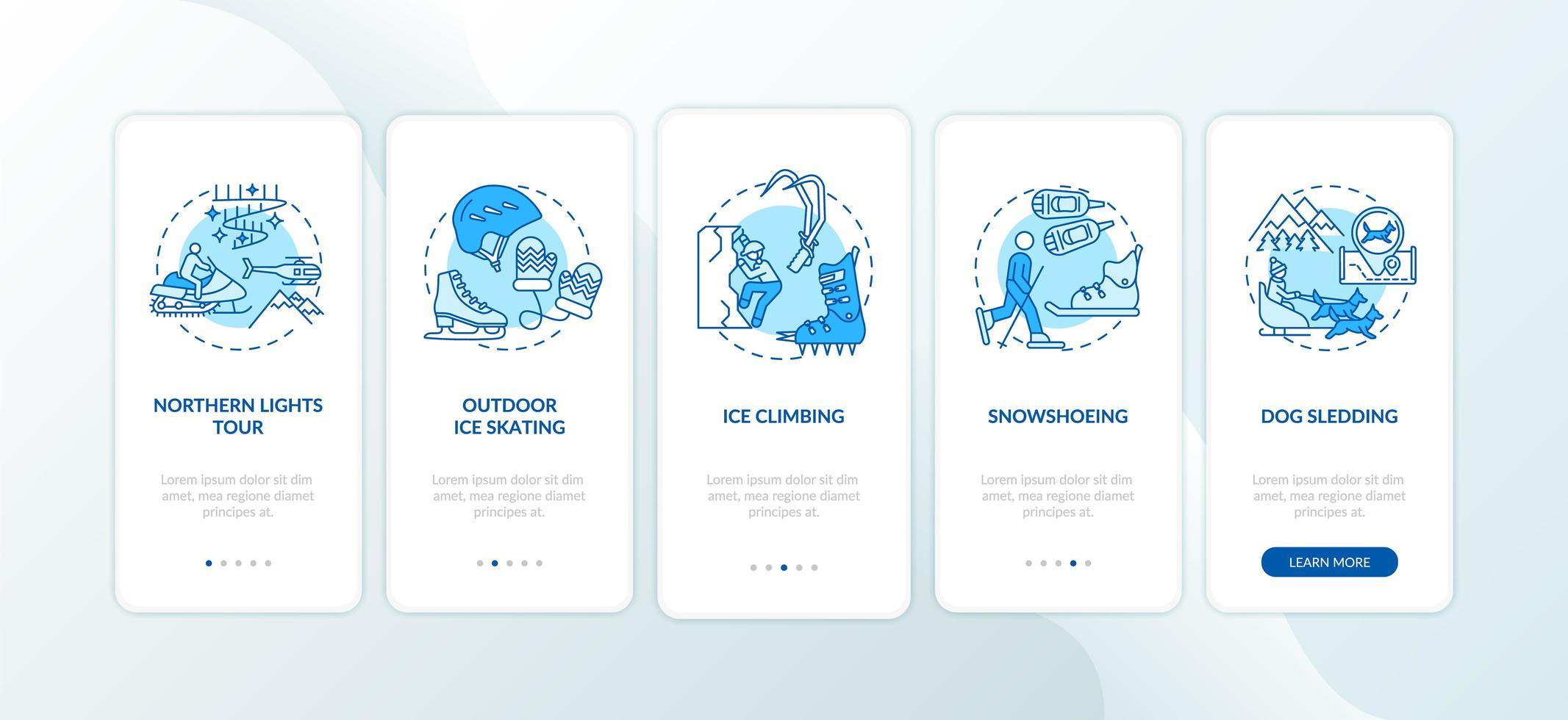 Winter Outdoor-Aktivitäten Onboarding Mobile App Seite Bildschirm mit Konzepten vektor