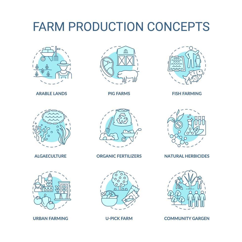 Ikonen des landwirtschaftlichen Produktionskonzepts eingestellt vektor