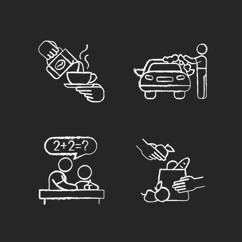 Teen Jobs Kreide weiße Symbole auf schwarzem Hintergrund gesetzt vektor