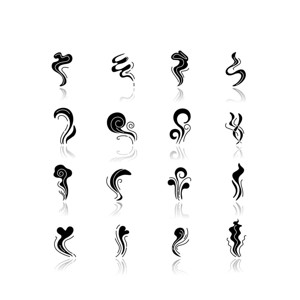 Geruchsnebenschatten schwarze Glyphensymbole eingestellt. guter und schlechter Geruch. Herzform Geruch, Flüssigkeit. Verdunstungsfluss. aromatischer Duft. Smogstrom, Rauch wirbelt. isolierte Vektorillustrationen auf Leerraum vektor