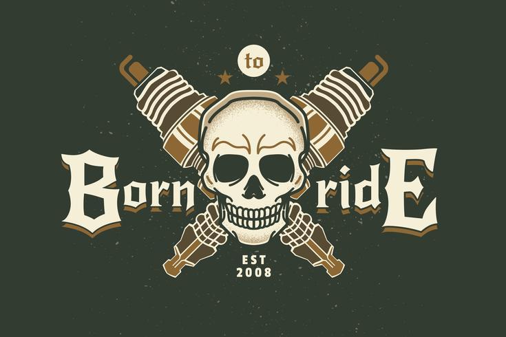 Weinlese-Zündkerze mit Skull Bikes Emblem Labels vektor