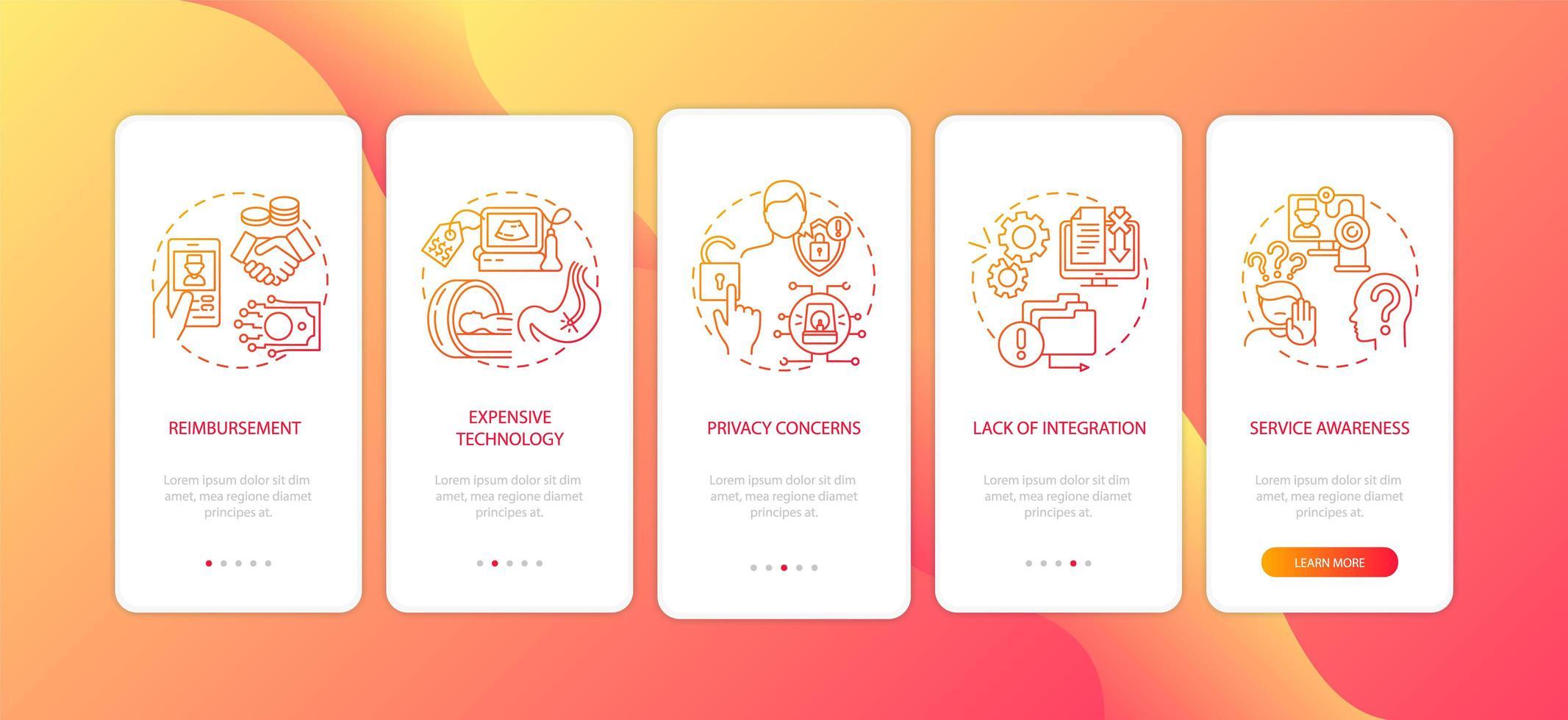 Die Telemedizin fordert die Integration des Seitenbildschirms für mobile Apps mit Konzepten heraus vektor