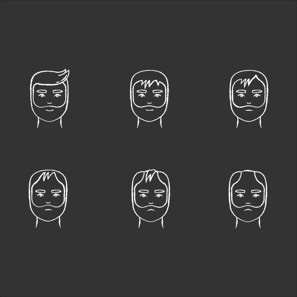 weiße Symbole der Haarausfallkreide setzen auf schwarzen Hintergrund. Phasen des Kahlheitsprozesses. männliche Alopeziezustände. Dermatologieproblem mit der Kopfhaut. Altern und Stress. isolierte Vektortafelillustrationen vektor