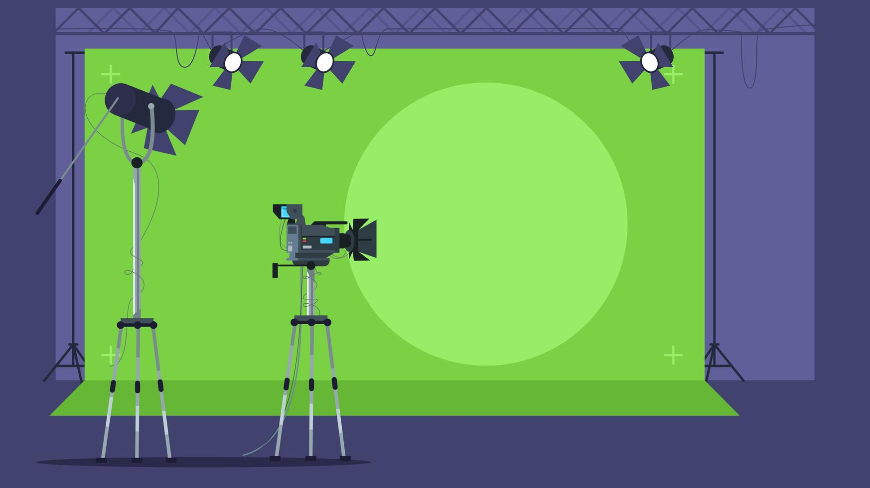 Nachrichtensendung, die halbflache Vektorillustration filmt vektor
